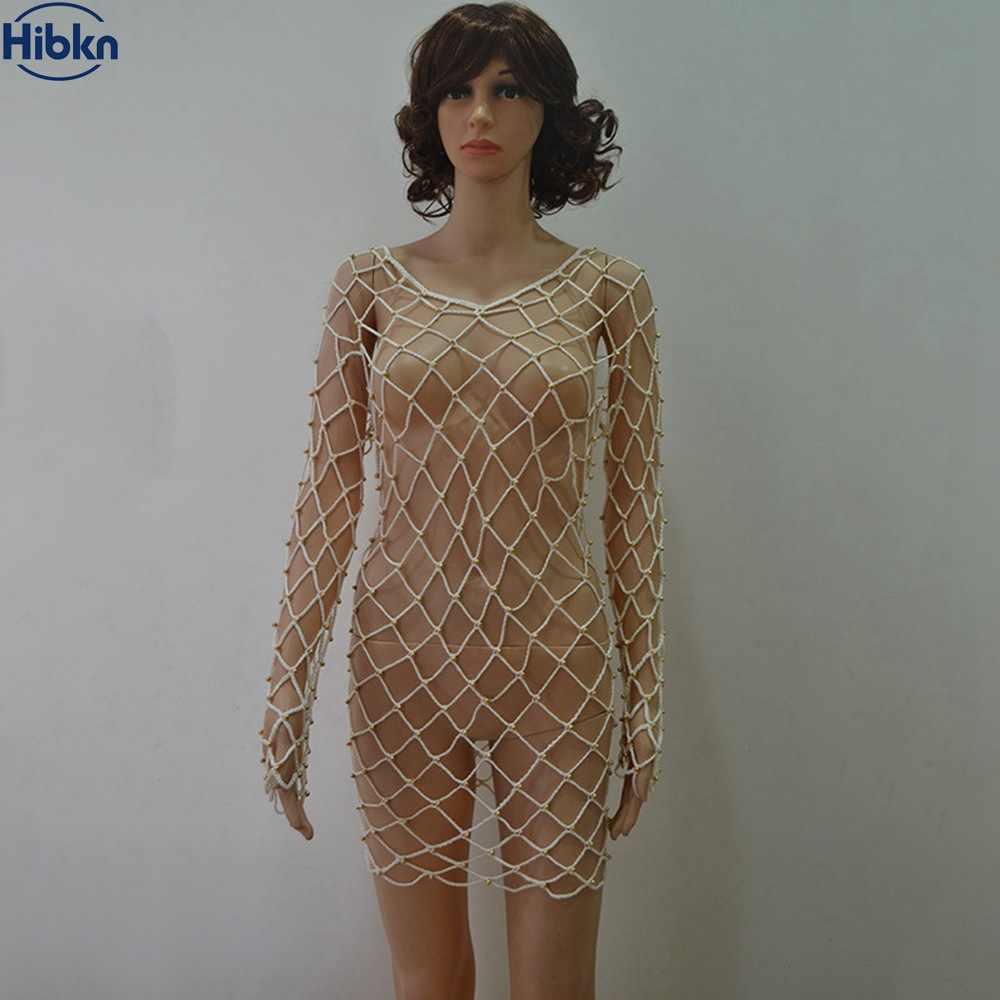 b91d041a50b ... Mesh Solid Bikini Dress twinkling mesh Cover Up long sleeve beach dress  crochet handmade cover ups