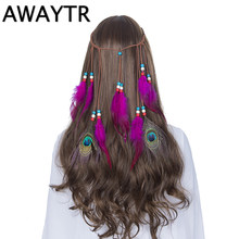 Indian Feather Headband AWAYTR Women Adjustable Hair Accesories for Female Bohemian Headdress Peacock Feather Headbands(China)