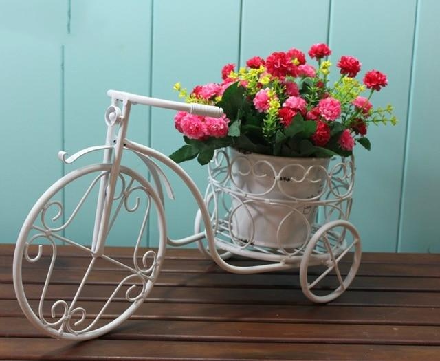 Europese metalen tuin wit ijzer fiets bloem stand desktop etalage