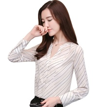 Womens Shirt Color Striped V-neck Long Sleeve Chiffon Women Fashion Blouses 2019 Blusas