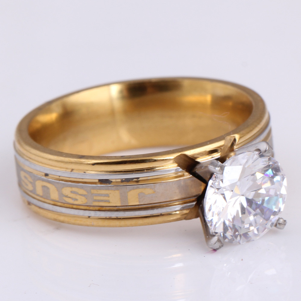 Wholesale Wedding Engagement Charm Fashion Round Rings for Women Gold Color White CZ Lady Zircon Ring