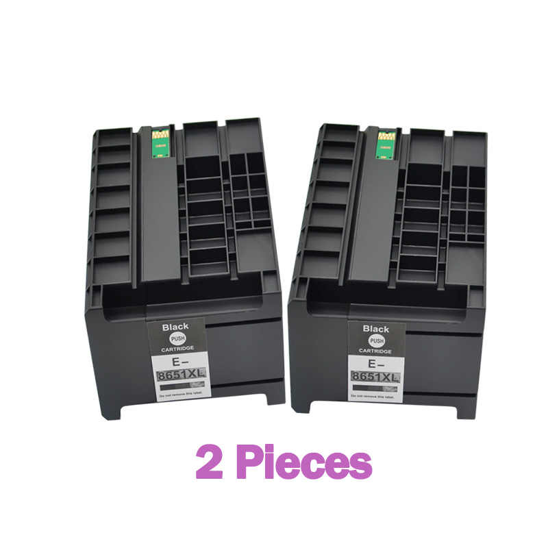 2 Buah Ink Cartridge T8651 T8651XL Pigmen Tinta untuk Epson WorkForce Pro WF-M5191 WF-M5190 WF-M5690 Printer