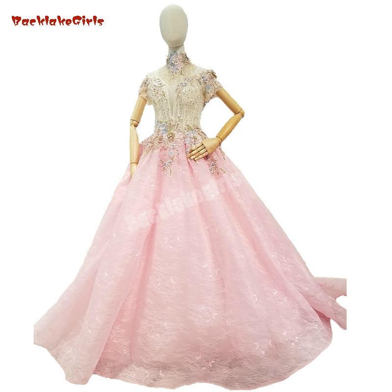 2018 Pink Tulle Evening   Dress   Sleeveless High Neck Formal   Dress   Floor-length Ball Gown Vintage   Prom     Dresses   Vestido De Festa