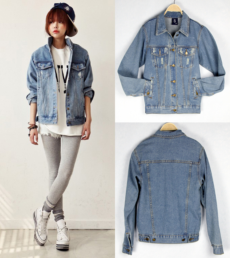 2015 New In Women 39 S Denim Coats Korean Style Casual Personality Vintage Style All Match Female