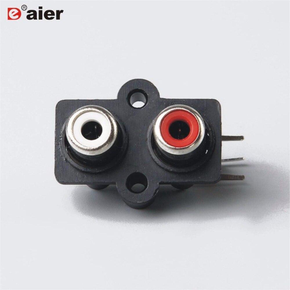 20 шт. RCA Jack 2 отверстия Женский Разъем AV2-8.4-7 PCB крепление AV аудио и видео панель Jack черный и красный цвет отверстия