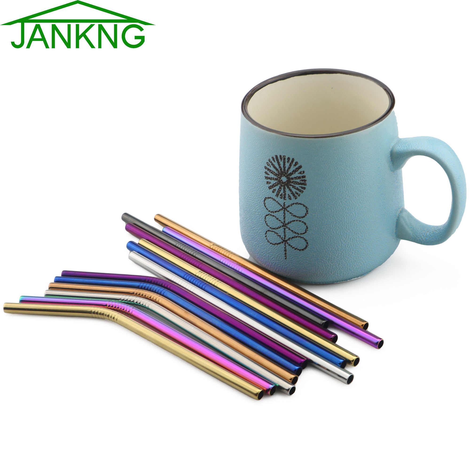 JANKNG Short 16cm Colorful Metal Straw 3-Pcs Stainless Steel Straws Reusable Bent Straw Mug Coffee Drinking Straw Cleaner Brush