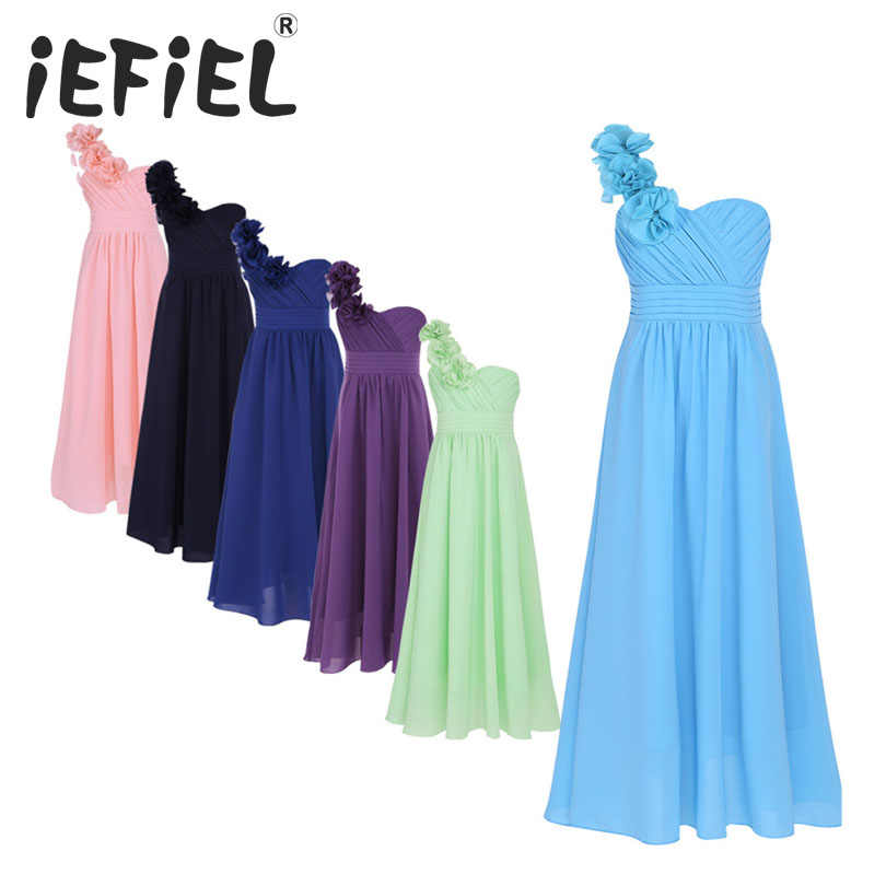 2017 iEFiEL Girls Chiffon One-shoulder Flower Girls Dress Princess Pageant Wedding Bridesmaid Birthday Party Dress Ball Gown Pro