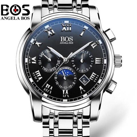 Relogio Masculino ANGELA BOS Waterproof Week Month Date Watch Men Fashion Luminous 12/24 Hours Quartz Wrist Watch Clock Saat Lahore
