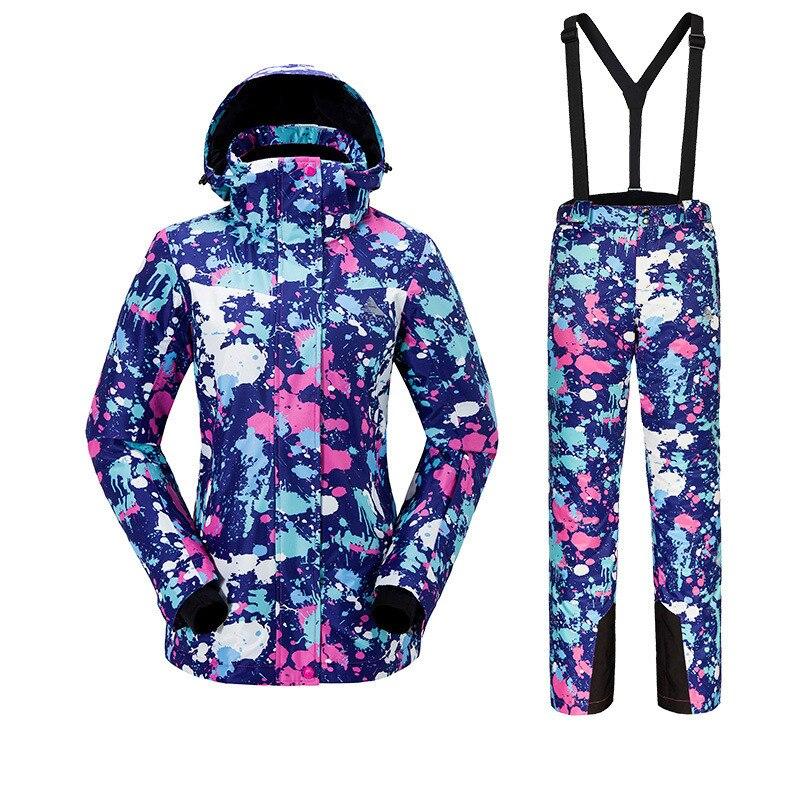 Terno de Esqui das mulheres Ao Ar Livre Esportes de Esqui Quente À Prova de Vento Respirável de Secagem Rápida À Prova D' Água Jaqueta de Esqui Calças Suspensórios Tamanho S-XXL