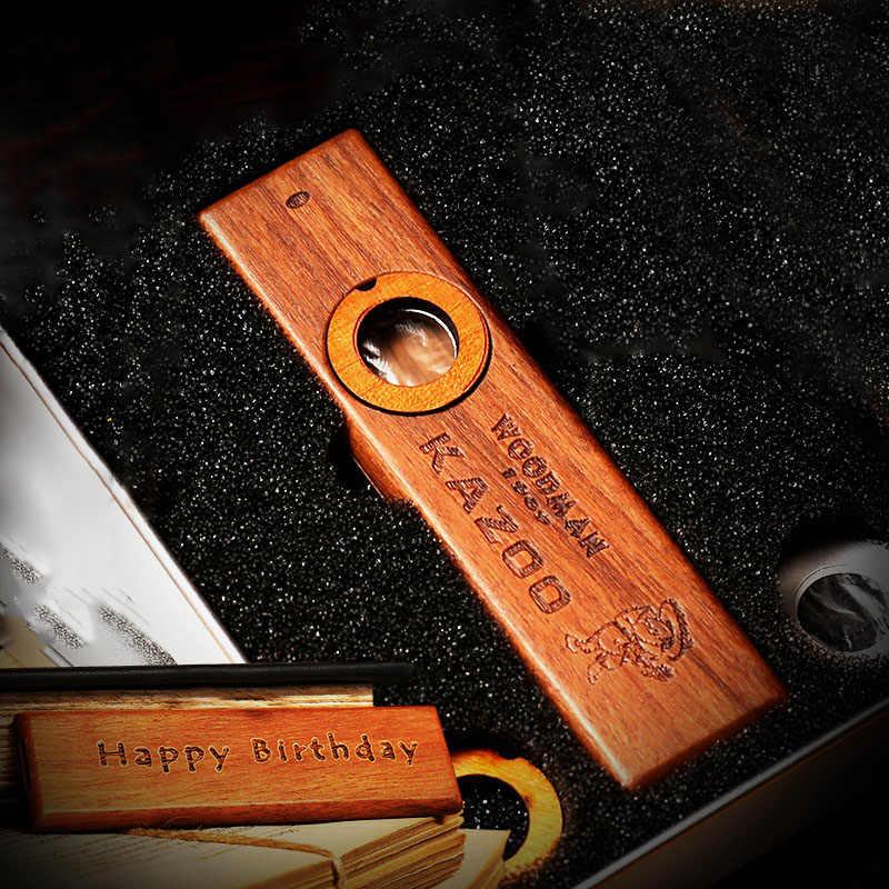 Gaita de madeira com caixa de metal kazoo para crianças adultas kazoo instrumentos de orff ukulele guitarra parceiro woodman