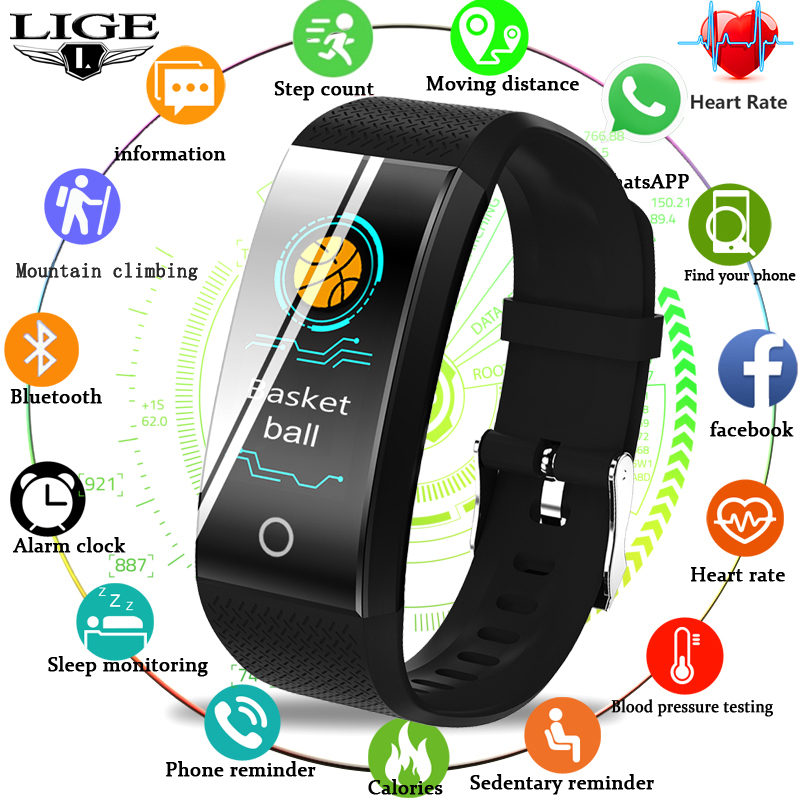 LIGE Smart Bracelet IP68 Waterproof sport Watch Heart Rate Blood Pressure Pedometer Wristband Fitness Tracker For Android ios