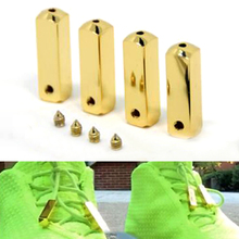 New Fashion 4 PCSMetal head Shoelaces Gold/Silver laces tips for sneaker Square basketball shoe laces Accessories