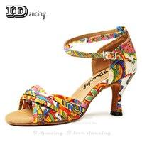 latin dance shoes flower ballroom shoes middle heel Salsa square shoes cross straps scarpe da ballo donna Idancing