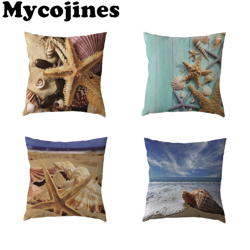 Scatter Cushions Starfish Beige//White 50x50cm. Cottage Cushion 1 maritime Cushion Cover