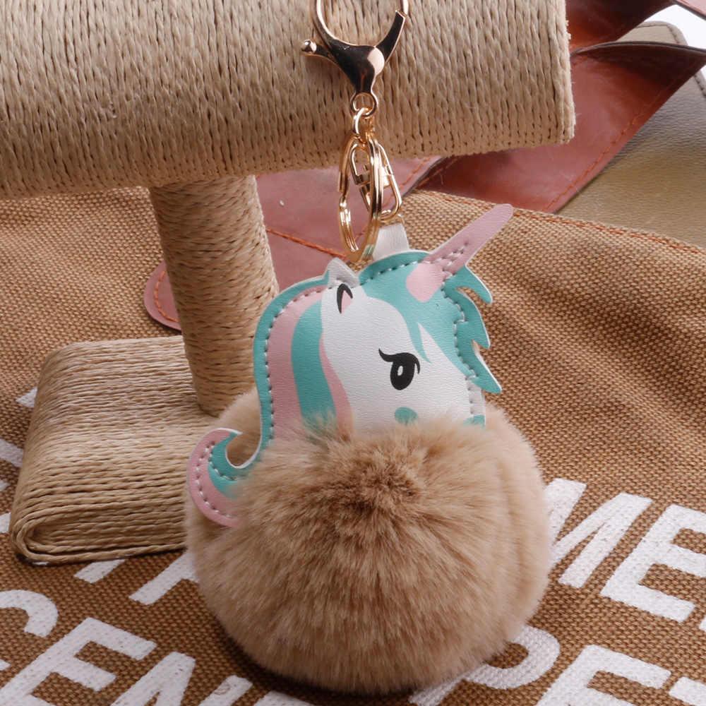 Unicórnio Kawaii Keychain Animal De Pelúcia Unicórnio Fofo Pom Pom Pele Ponto Cheio Boneca Bonito Brinquedos Chaveiro Saco Do Telefone Pingente de Pelúcia brinquedo