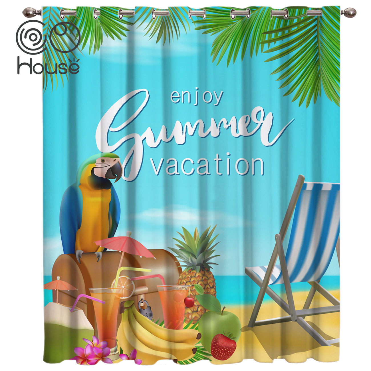 COCOHouse Beach Parrot Enjoy Summer Vacation Window Treatments Curtains Valance Window Curtains Dark Curtains Bedroom Indoor