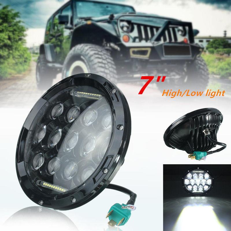 7Inch 75W LED Headlight H4 H13 DRL Hi/Lo Beam For JEEP CJ JK TJ Wrangler Harley pair j226 plug and play round 7inch 20w led headlight with drl h4 h13 for wrangler tj lj jk cj 5 cj 7 cj 8 scrambler