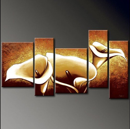 pinturas al leo lienzo pintado a mano obras de arte de las flores de oro