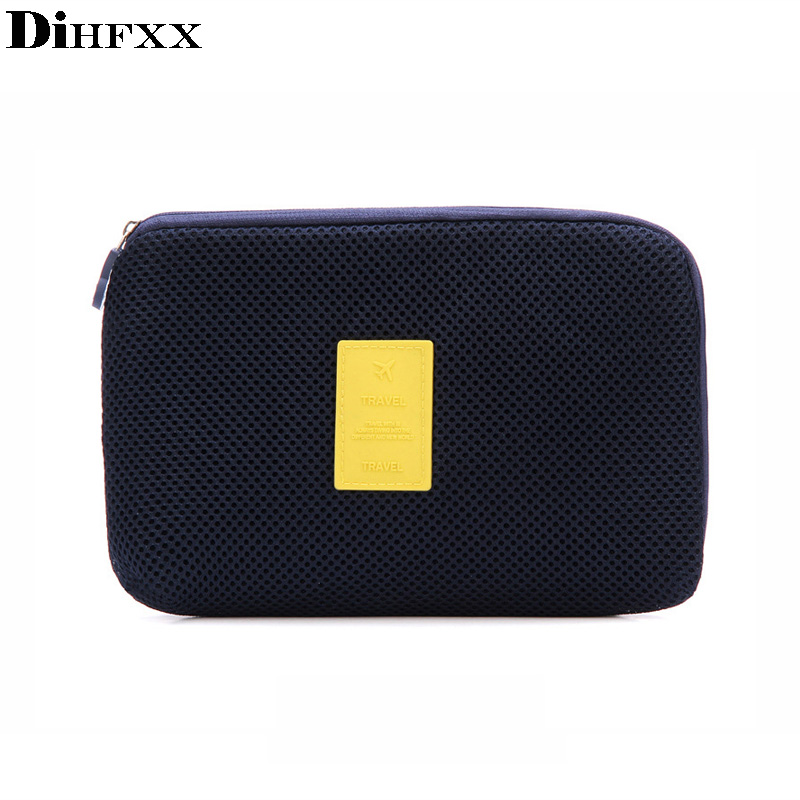 DIHFXX Travel Makeup Brush Cosmetic Organizer Accessories Bag Shockproof Travel Digital USB Charger Cable Earphone Case DX-43