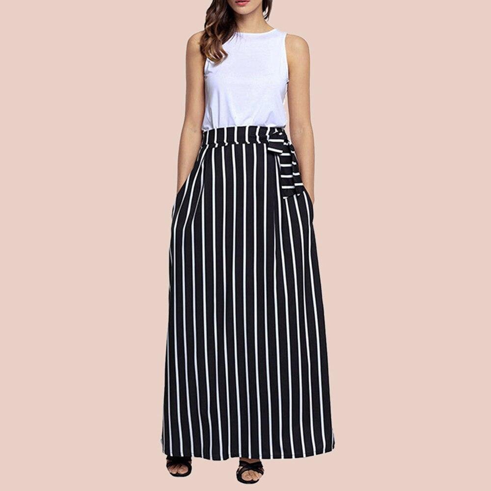 2018 autumn women long skirt chic colorblock striped maxi skirts summer full-length high waist tie big hem vintage skirt