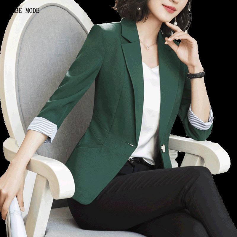 Womens Summer Formal Blazer Office Coat Women Short Sleeve Black White Green Orange Suit Jacket Woman Work Wear Slim Fit Blazer