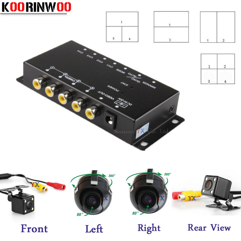 KOORINWOO Control Box Four Channels for Car Rear view Camera Video Switch Front Right Left Cameras Parking System Remote Control intelligent quad channel car camera video recorder dvr for rear front side view camera four split screen with remote controller