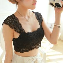 Sexy Women's Sleeveless Lace Tank Tops Bustier Bra Vest Crop Top Bralette Cami Tank Tops 2017 New Fashion Summer Style