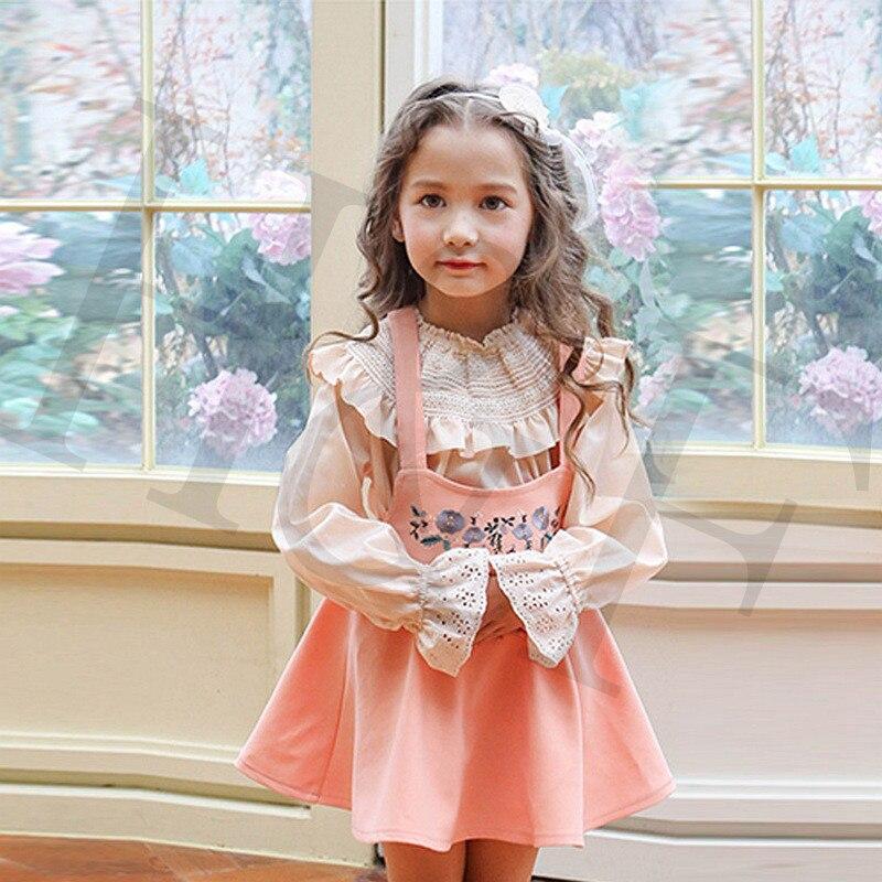 Girls Dresses Children Clothing Sets Shirt+Strap Kid Dress for Girl Tutu Dresses Sets Embroidery Black+Pink Dresses for Girls