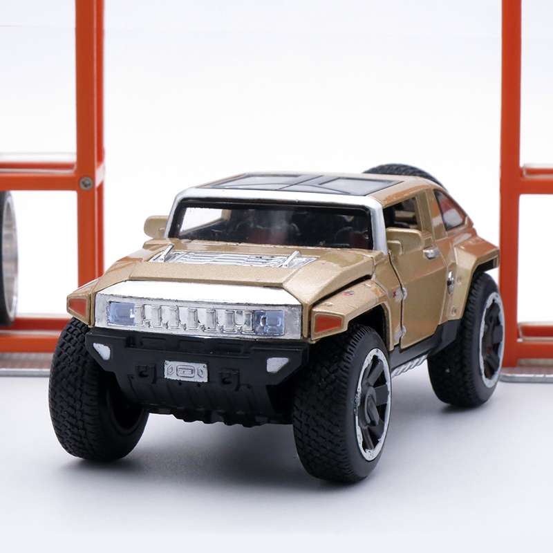 14Cm Length Diecast Hummer Model, 1: 32 Alloy Scale Car, Boys Hadiah Mainan Logam Dengan Muzik / Cahaya / Pintu Terbuka / Tarik Kembali Fungsi