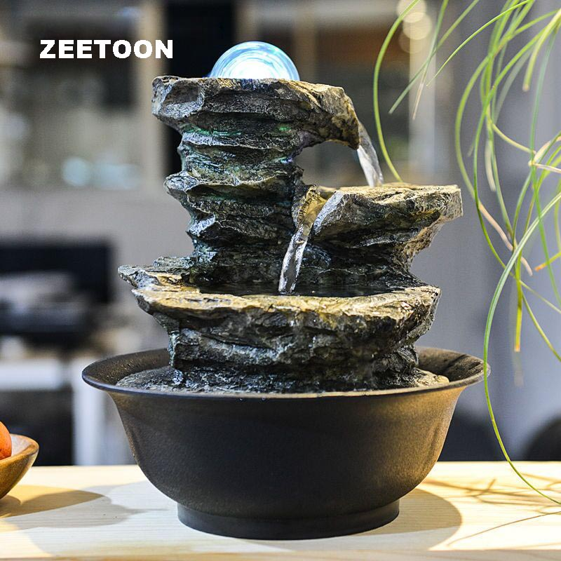 aliexpresscom buy 110v 220v zen style rockery mini water fountain led crystal ball air humidifier feng shui tabletop ornaments lucky home decor from - Fontaine A Eau Zen