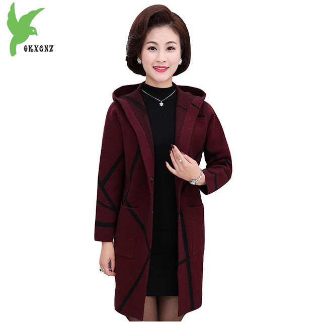 High Quality Autumn Women Knit Sweater New Middle aged Female Cardigan Jackets Plus size Thicker Mother Sweater Coats OKXGNZ1225
