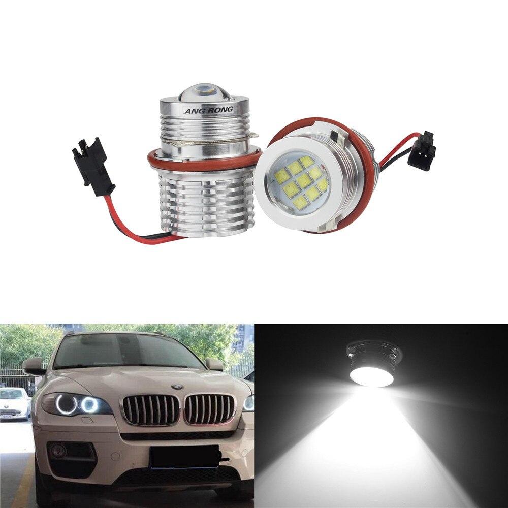 ANGRONG 2X No Error Angel Eye Halo LED Light Bulb 90W White For BMW E61 E63