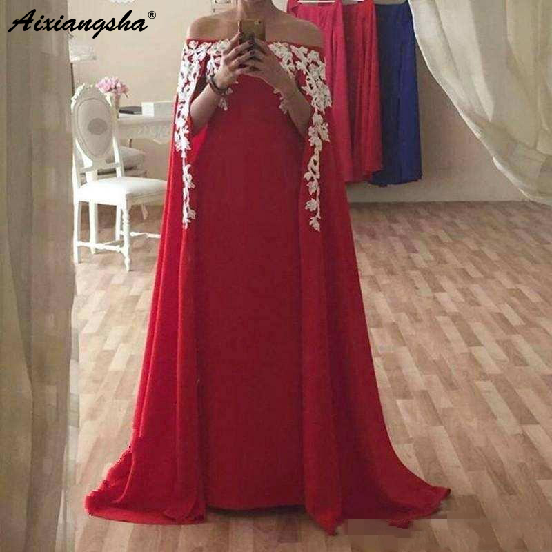Red Muslim   Evening     Dresses   2019 with Cape A-Line Strapless Lace Appliques Dubai Saudi Arabic Formal Pageant Prom   Evening   Gowns