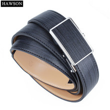 HAWSON Automatic Buckle Belt Leather Genuine Men Leather Belt Black Business 1.14 Wide Strap Mens Dress Belt 100-130 cm maloneda custom made genuine leather blue color dress shoes handmade goodyear welted lace up mens oxford brogue shoe