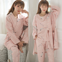 8220# 3 PCS Set Printed Cotton Maternity Nursing Nightwear Spring Spring Fashion Sleepwear for Pregnant Women Pregnancy Pajamas