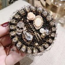 Female Antique Flower Pendant Brooch Vintage Women Fashion Broche Hijab Pins Brooches Women Lapel Pin Badge Round Broch недорого