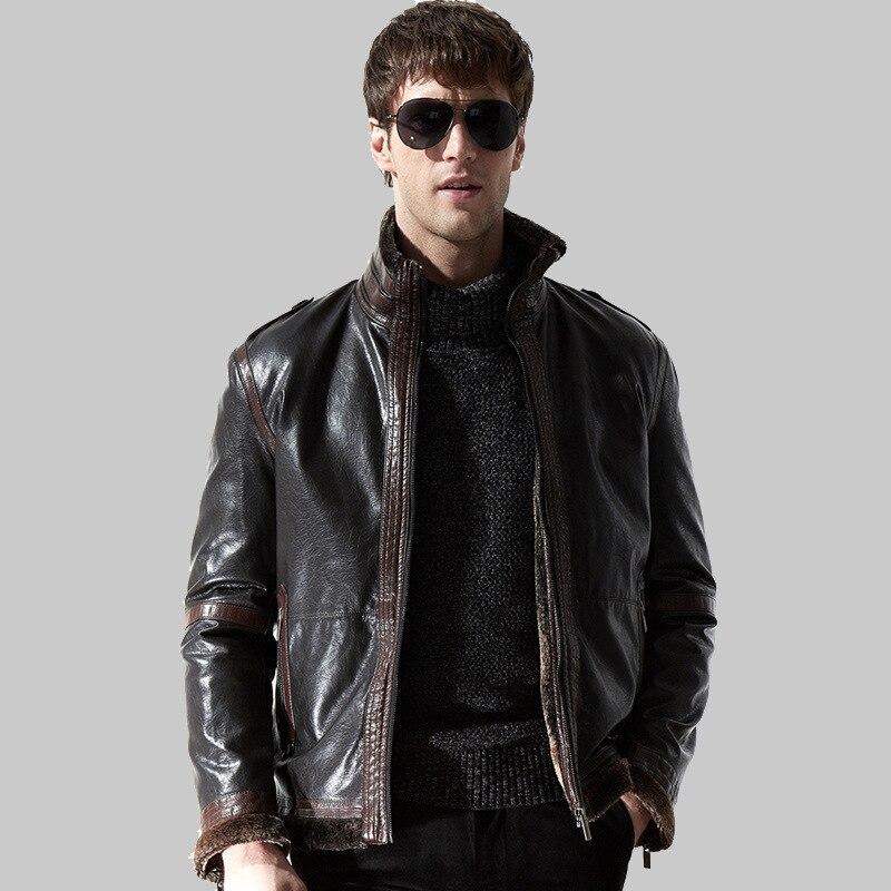 Faux Leather men Casual Jacket 2017 Winter Thicken Fleece Windbreaker Pu masculina Jaqueta coat Air Force man overcoat