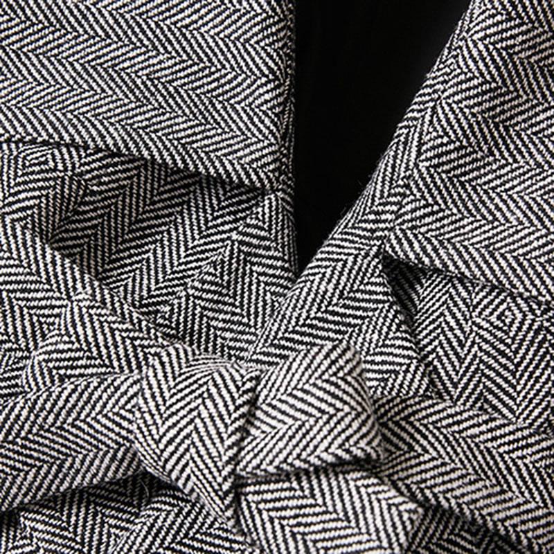 Bandage Patchwork Femmes L'europe hg Collar Mode Turn Printemps De Rayé Pleine down Lyh2755 Femelle Plier Nouvelle Hiver Manches Grey Manteau wfapq6a4