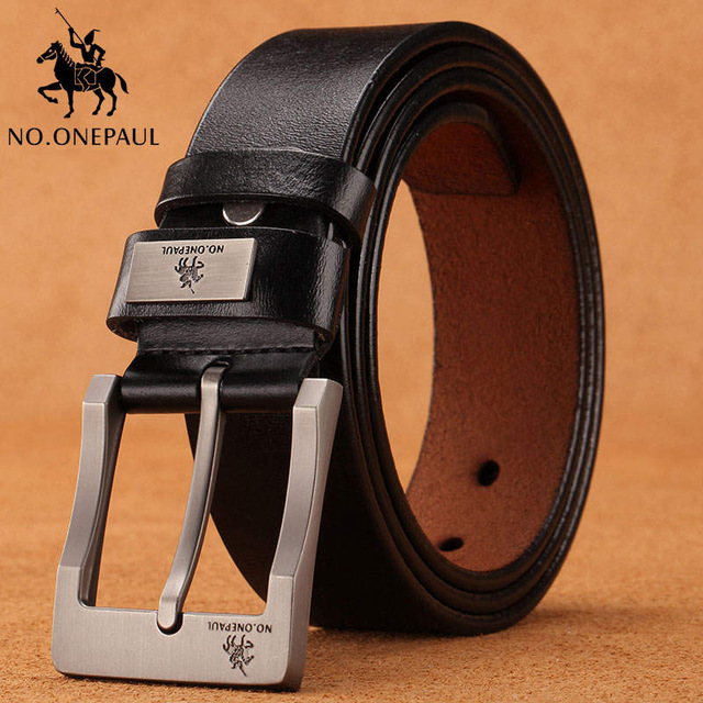 NO.ONEPAUL buckle men belt High Quality cow genuine leather luxury strap male belts for men new fashion classice vintage pin - Цвет: Z3333 black
