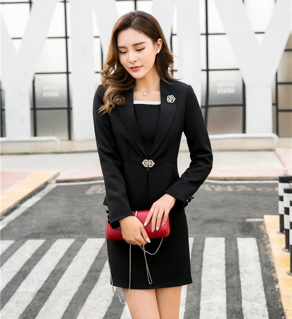 Black Blazer Women Business Suits Formal Office Suits Work Ladies ...