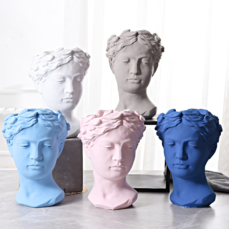 Retro Venus Portrait Statue Goddess Head Flowerpot Sculpture Cement Art&Craft Court Balcony Home Furnishing Decoration L3241