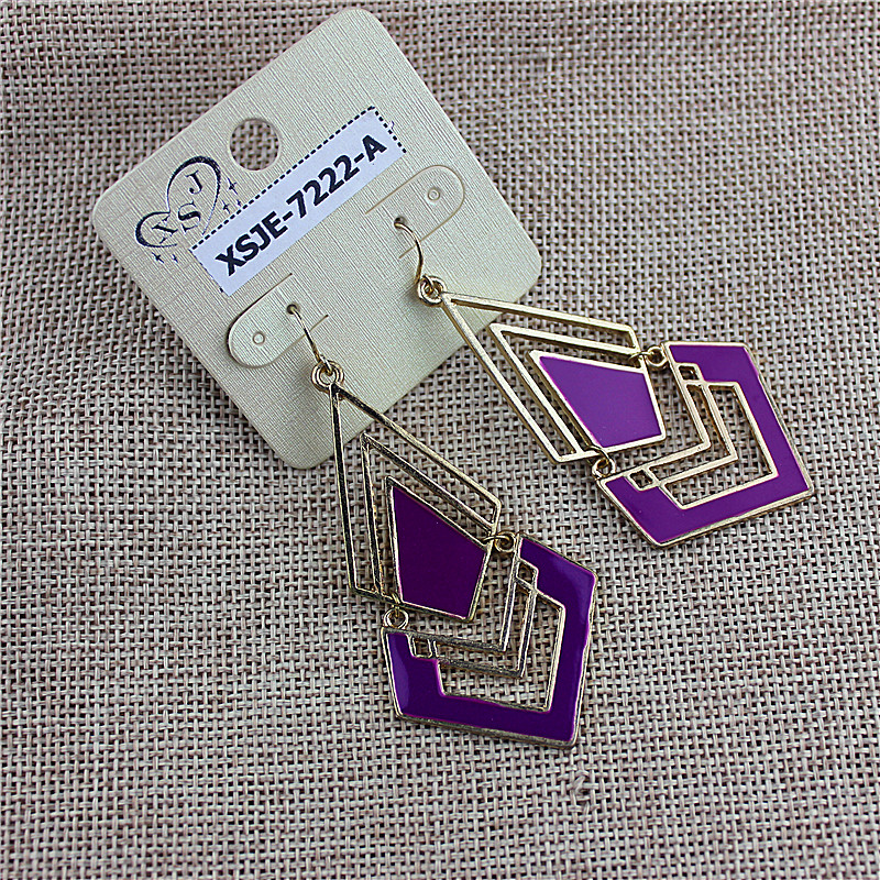 Sales of new fashionable womens jewelry wholesale girls birthday party type beautiful purple earring agent freight