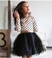 2017 Nueva Otoño Invierno Niños Niños Niñas Vestidos de Polka Dot Arco-Nudo de Manga Larga Vestido de La Muchacha Ropa Kids Party ropa 3-8Year