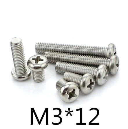 <font><b>1000pcs</b></font>/lot DIN7985 stainless steel 304 <font><b>M3</b></font>*12 Phillips pan head (Cross recessed pan head) machine Screw image