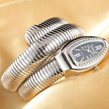 лучшая цена 2019 CUSSI Luxury Brand Snake Watch Gold Womens Watches Silver Quartz Wristwatches Ladies Bracelet Watch Reloj Mujer Clock Gift