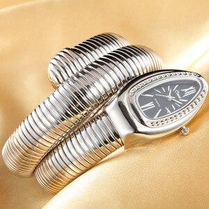 Image 1 - 2019 CUSSI Luxus Marke Schlange Uhr Gold Damen Uhren Silber Quarz Armbanduhren Damen Armband Uhr Reloj Mujer Uhr Geschenk