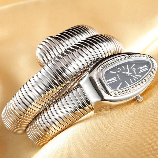 CUSSI 2018 Brand Luxury Serpentine Womens Watches Silver Quartz Wristwatches Lad