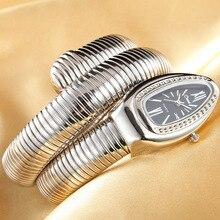 ساعة يد نسائية من CUSSI موديل 2019 فاخرة على شكل ثعبان ذهبية اللون ساعات يد كوارتز فضية اللون ساعة يد للسيدات مزودة بسوار ساعة هدية
