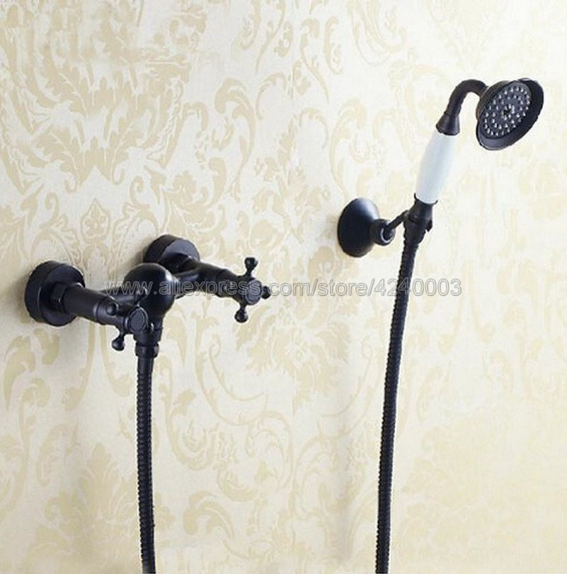 Oil Rubbed Bronze Bathroom Faucet Bath Faucet Mixer Tap Wall Mounted Hand Held Shower Head Kit Shower Faucet Sets Ktf033 wall mounted oil rubbed bronze shower faucet black single handle bath and rain shower faucet with hand shower