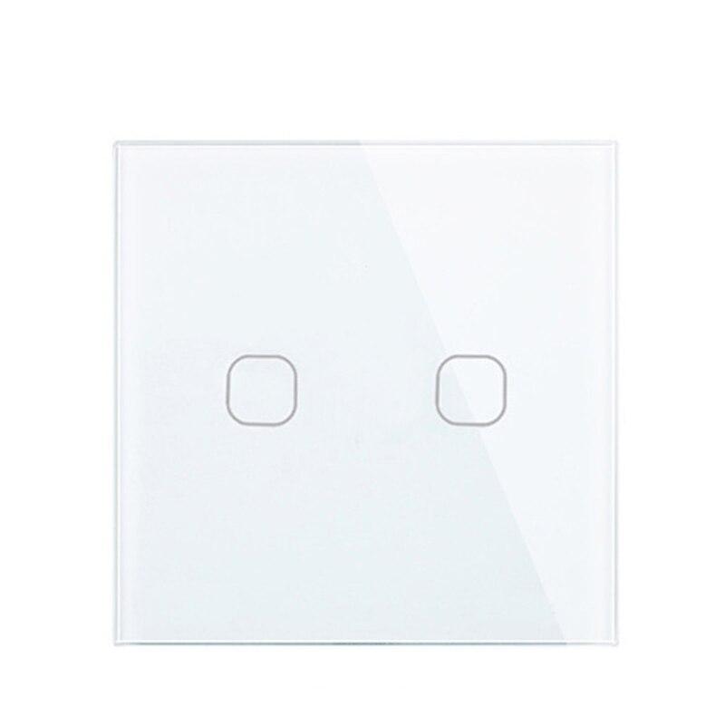 Touch Schalter Weiß Kristall Glas Panel AC220V 2 Gang 1Way Licht Wand Touchscreen Schalter EU/UK EU/ UK standard Weiß Schwarz Gold